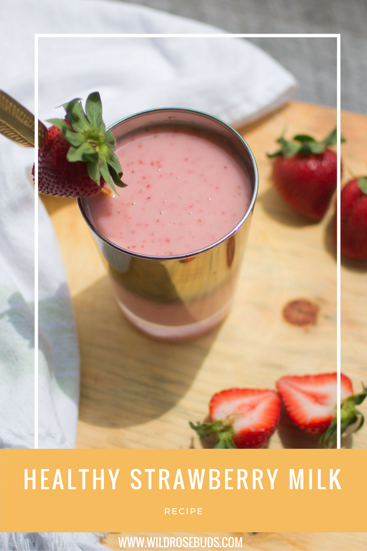 Healthy non-dairy Strawberry Milk perfect for children with a dairy allergy or sugar sensitivity