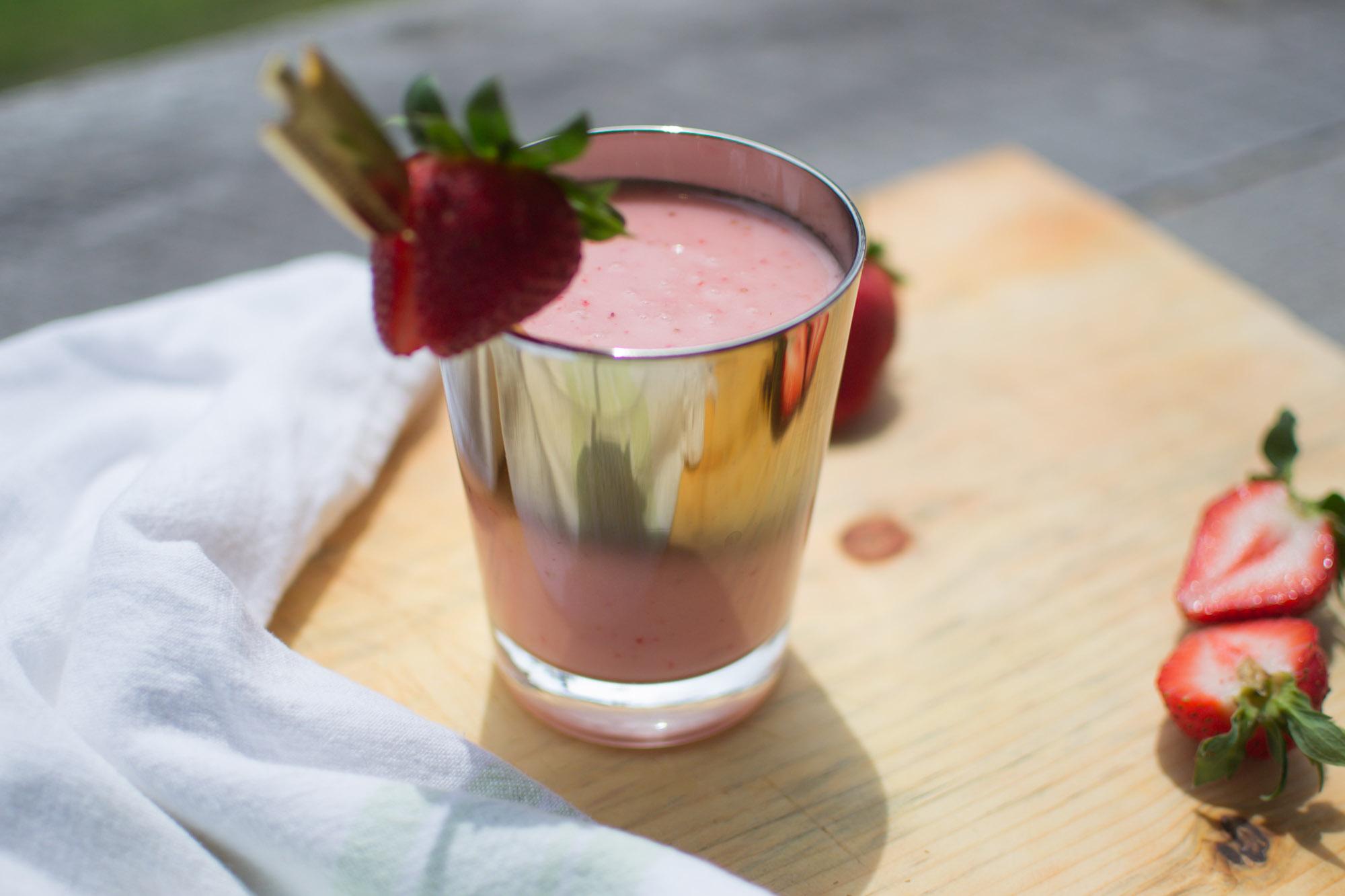 Wild Rosebuds Quick and Easy Non-Dairy Strawberry Milkshake