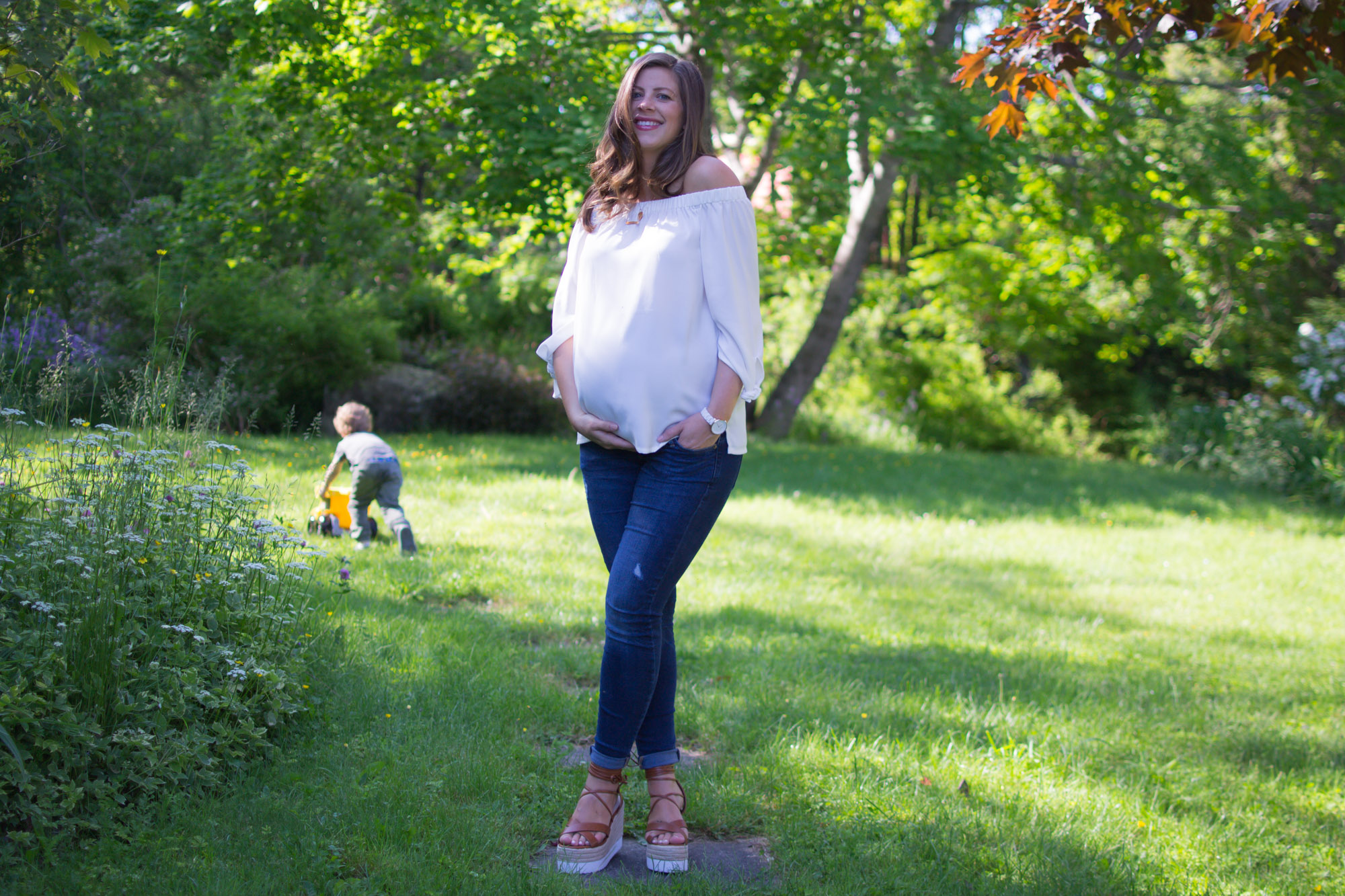 Wild Rosebuds Maternity Off The Shoulder blouse