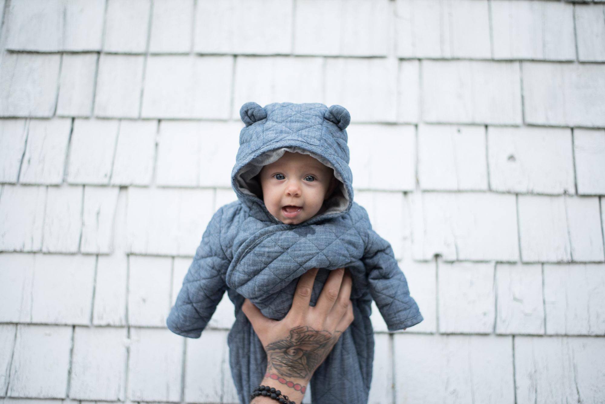 Wild Rosebuds sharing her story on having two children battle Reflux. Gap Baby Bear Snow Suit