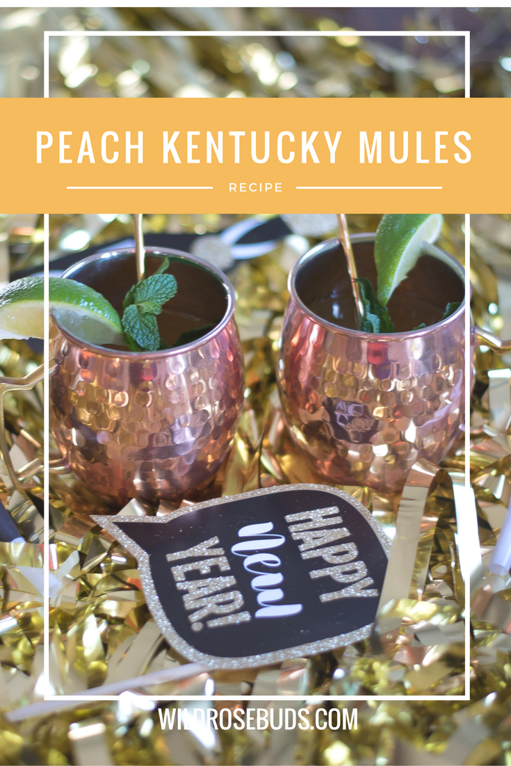 Peach Kentucky Mule Cocktails with Jim Bean Bourbon. Perfect New Years Cocktail