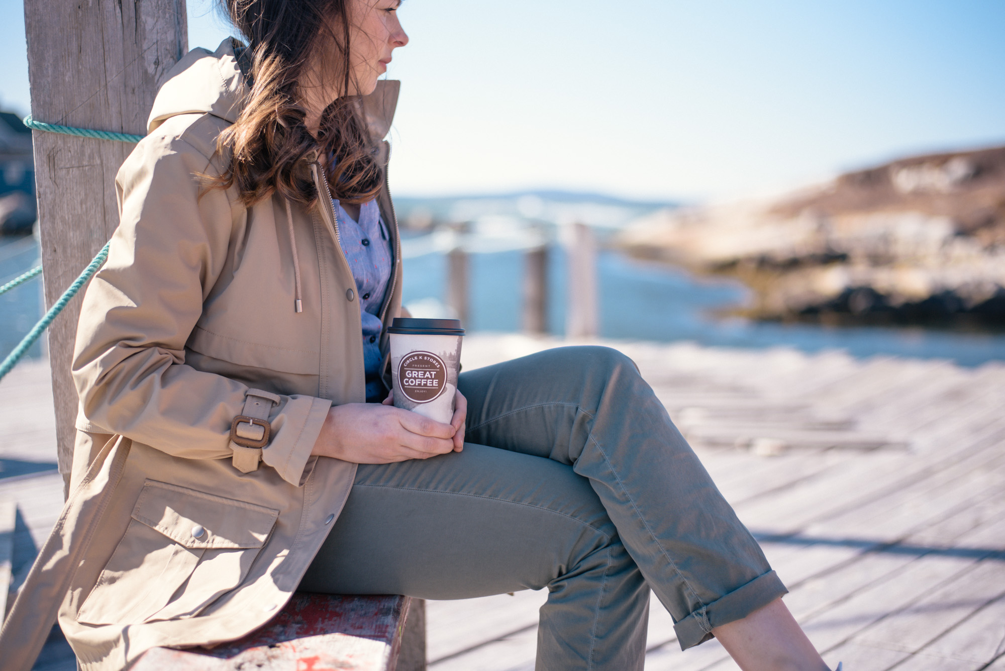 Wild Rosebuds: The perfect Spring outfit with Olive green chinos and a khaki rain jacket, Circle K coffee in hand