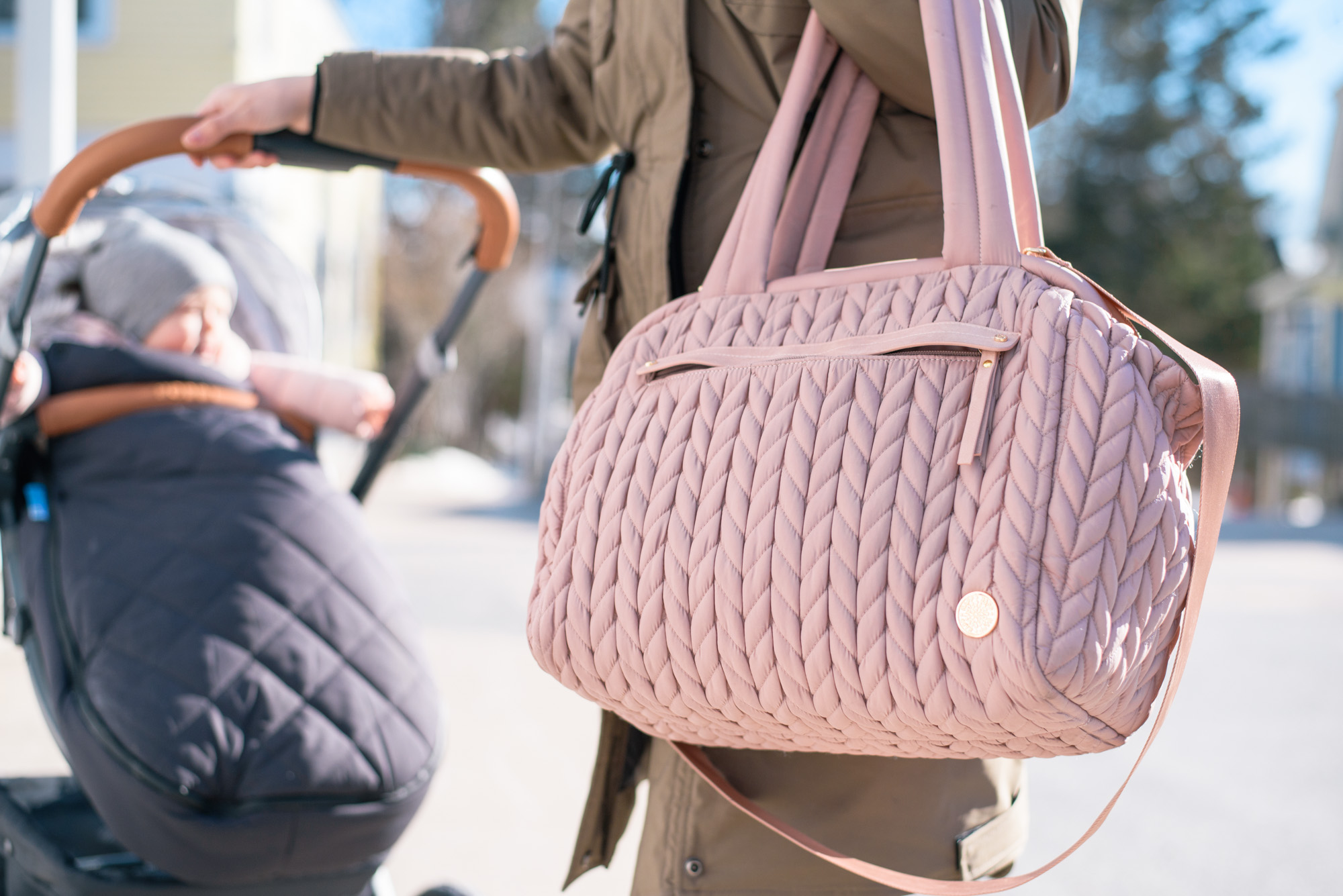 Styling a Pink diaper bag by Happ with the Uppababy Vista