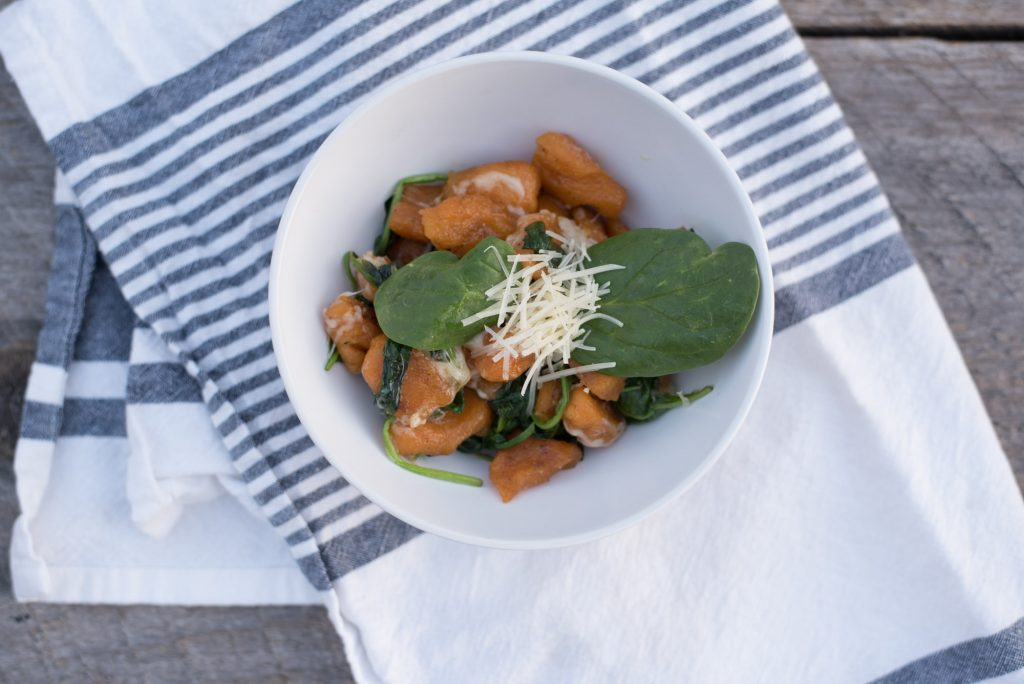 Paleo Sweet Potato Gnocchi with Garlic Butter and Spinach.