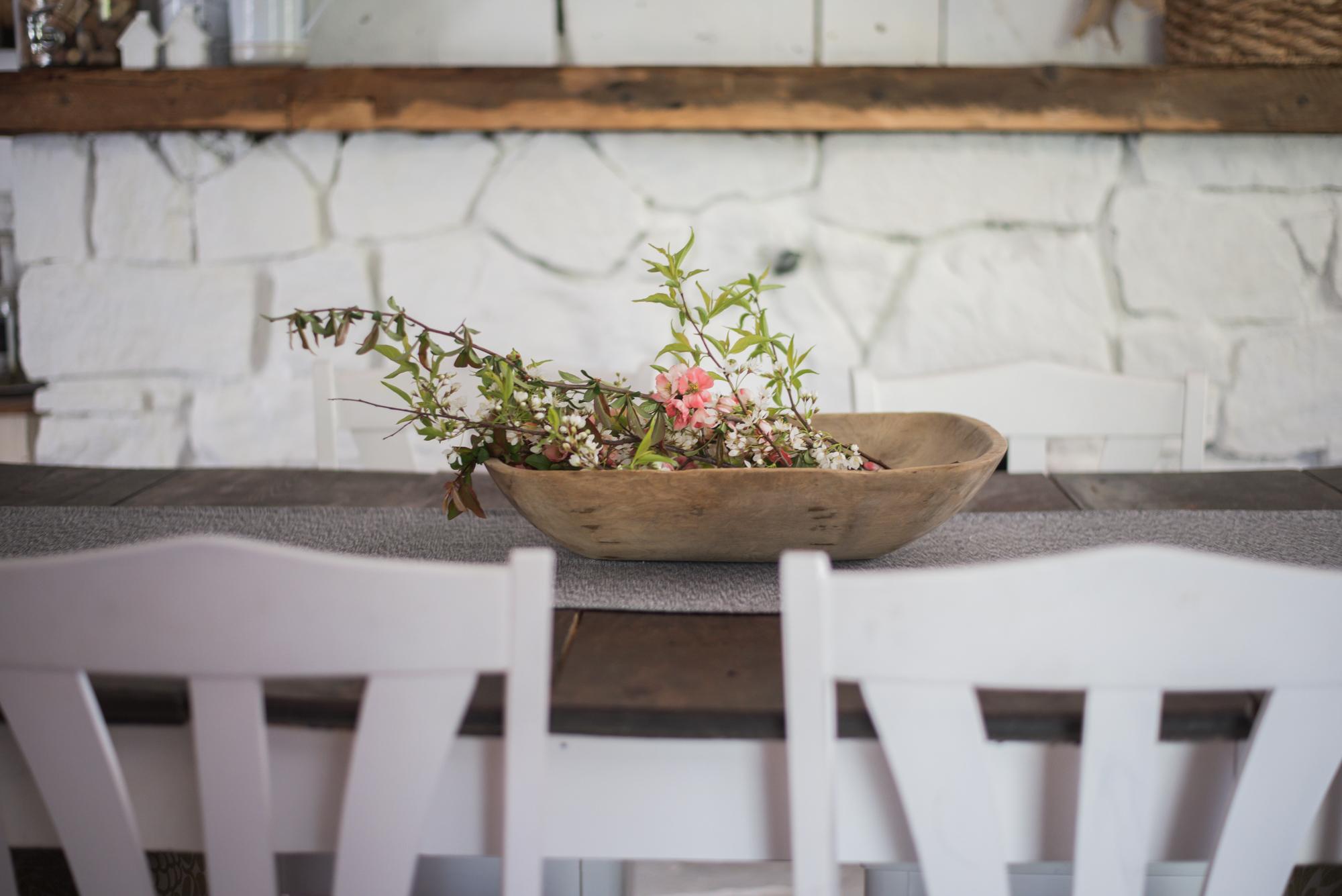 Wild Rosebuds: Home tour with HGTV.ca white stone fireplace and antique dough bowl