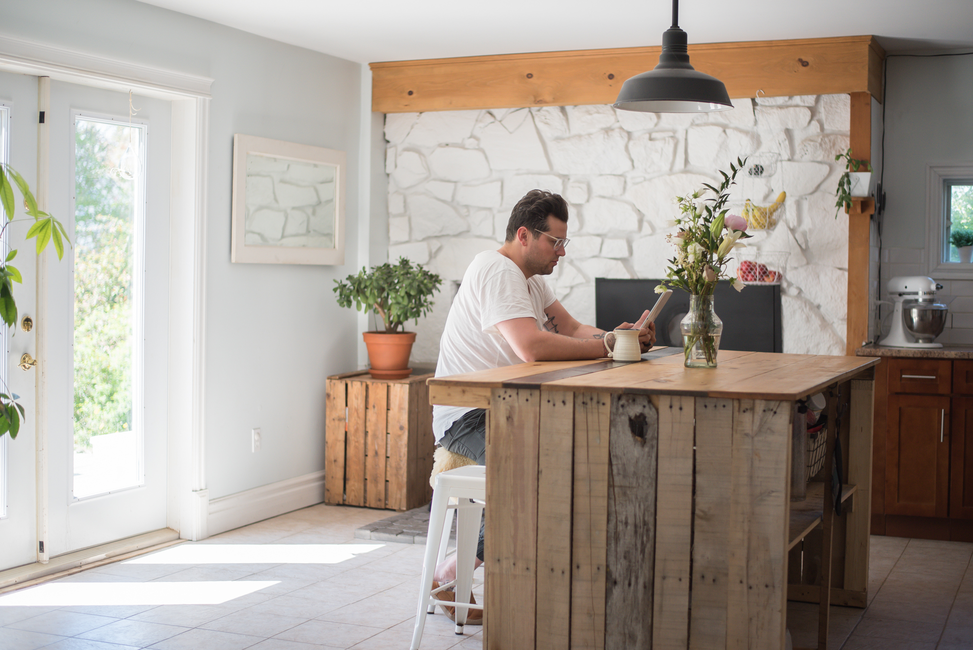 Wild Rosebuds: Home tour with HGTV.ca Pallet Kitchen Island and white stone fireplace