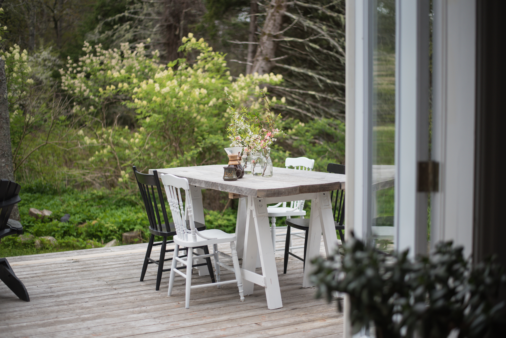Wild Rosebuds: home tour with HGTV.ca country back deck with diy table and antique chairs