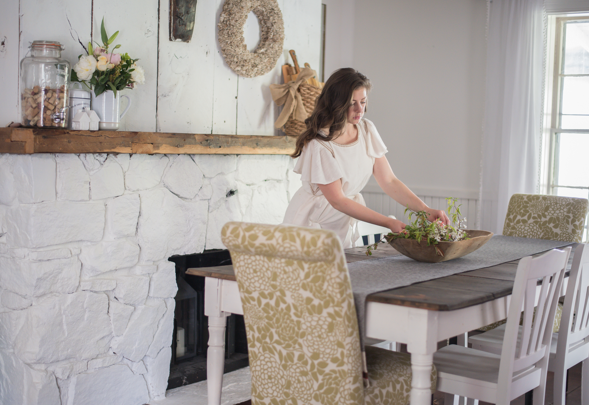 Wild Rosebuds: Home tour with HGTV.ca Antique wood mantle and white stone fireplace