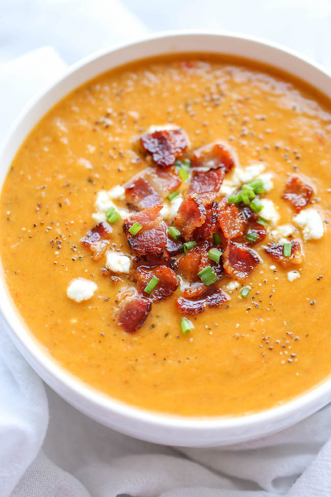 Wild Rosebuds | Paleo holiday recipes | Paleo Squash Soup with Bacon Topping