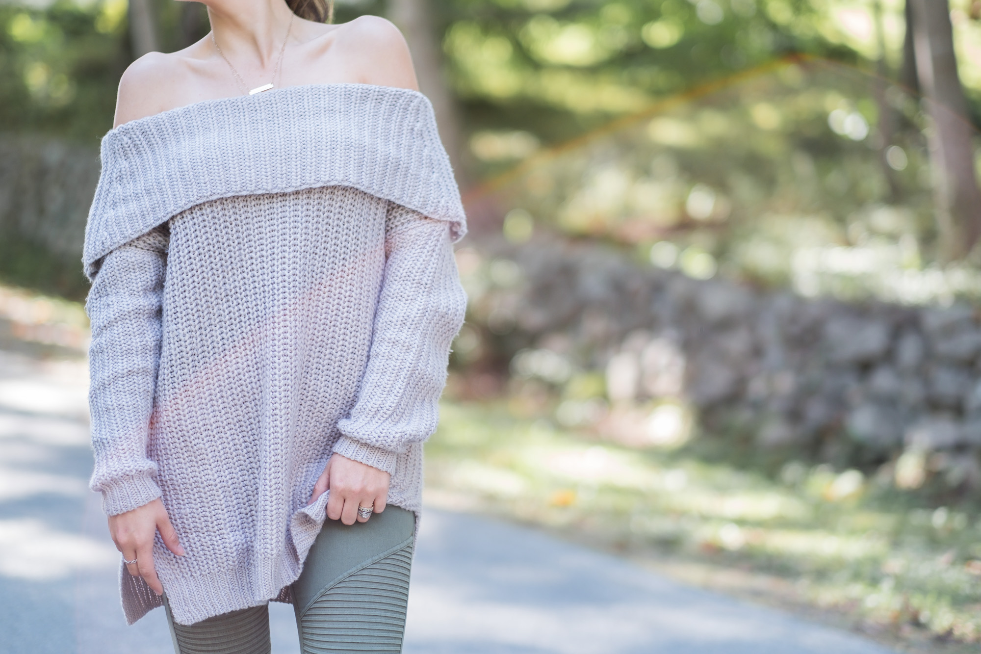 Wild Rosebuds| off the shoulder knit sweater from Vici Collection
