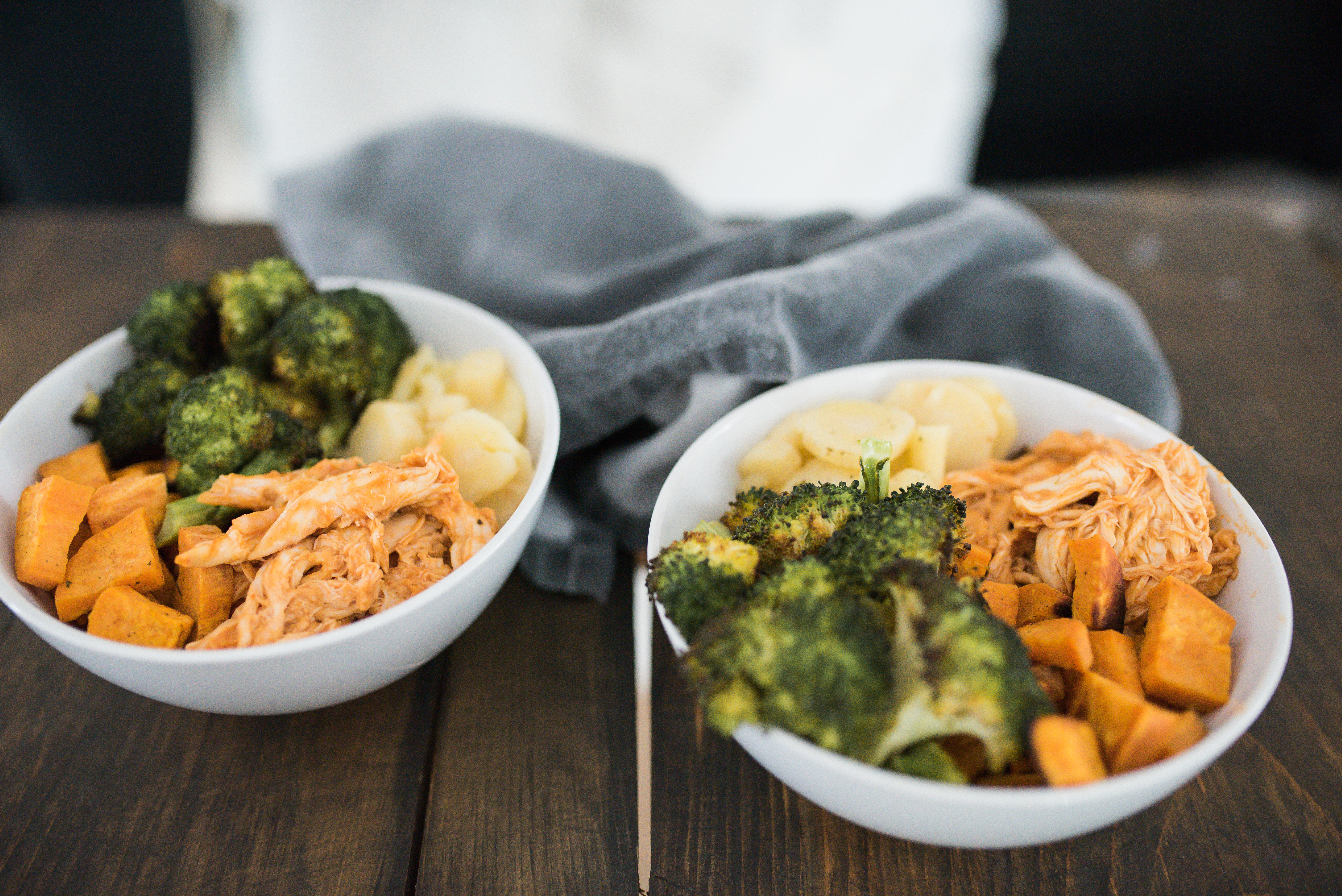 Wild Rosebuds | Hearty roasted Chicken Bowl with Broccoli, sweet potato and parsnip perfect for a quick supper on a cold day