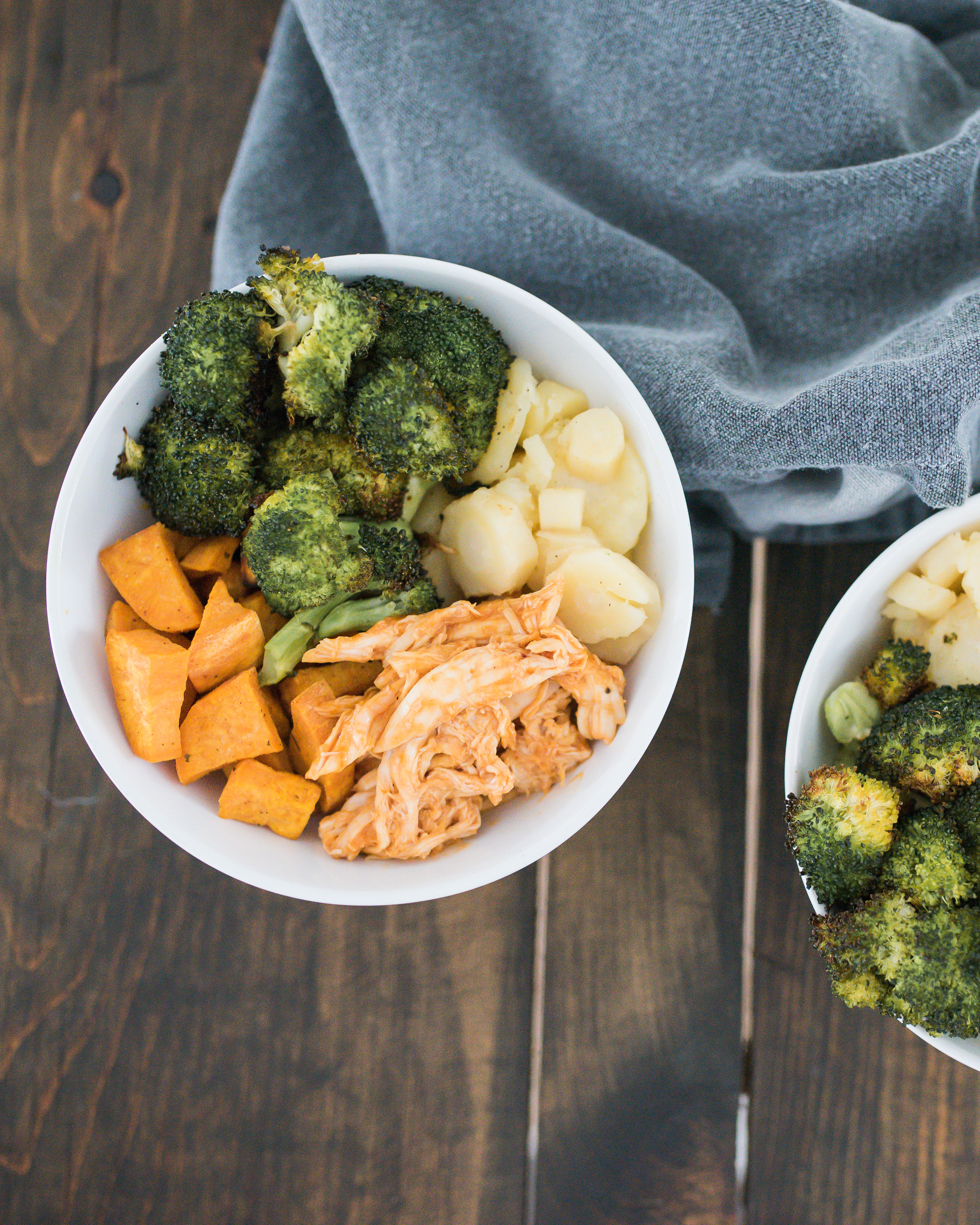 Wild Rosebuds | Hearty roasted Chicken Bowl with Broccoli, sweet potato and parsnip perfect for a quick supper