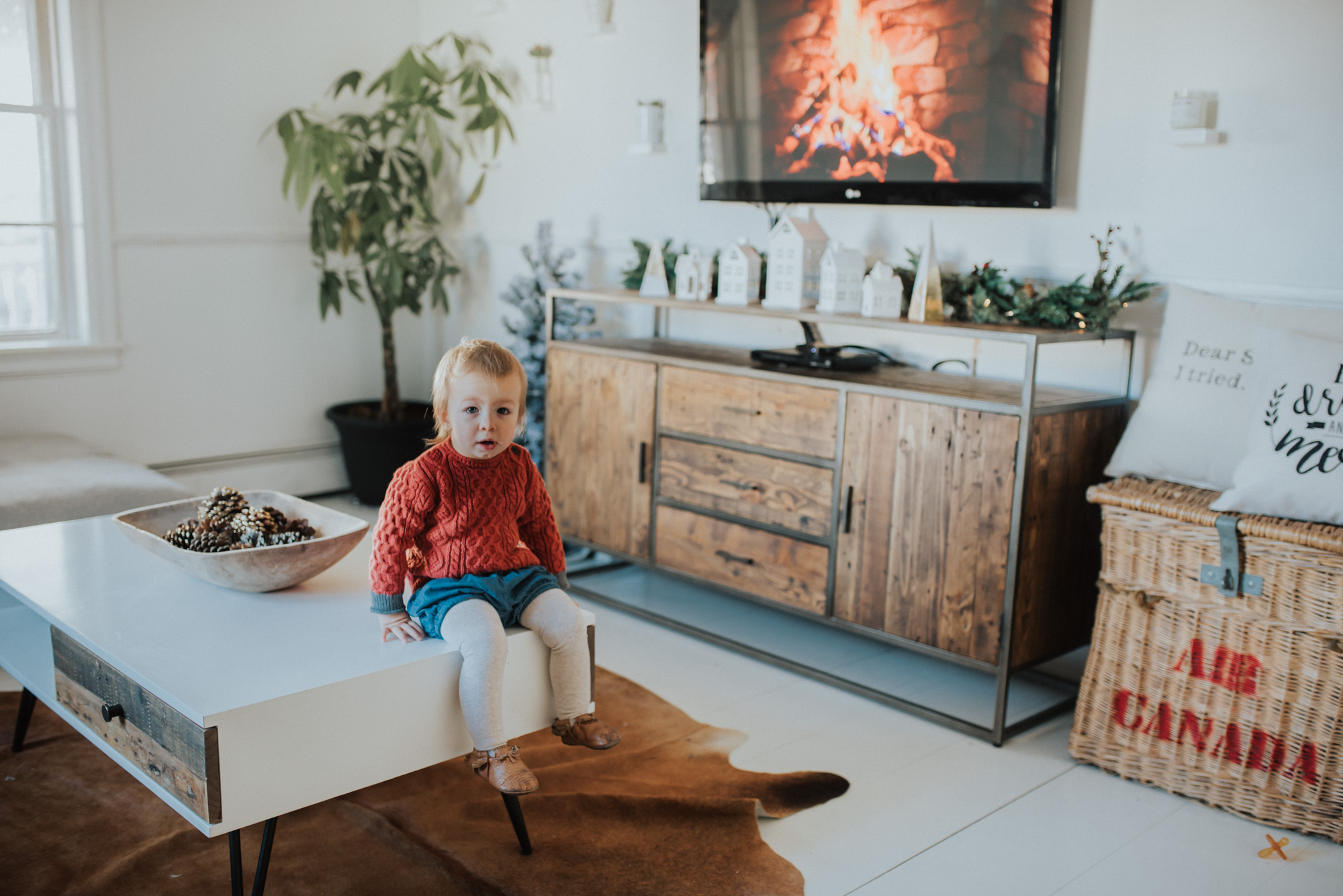 Wild Rosebuds | How To Decorate and Entertainment Center or buffet under a TV For the holidays