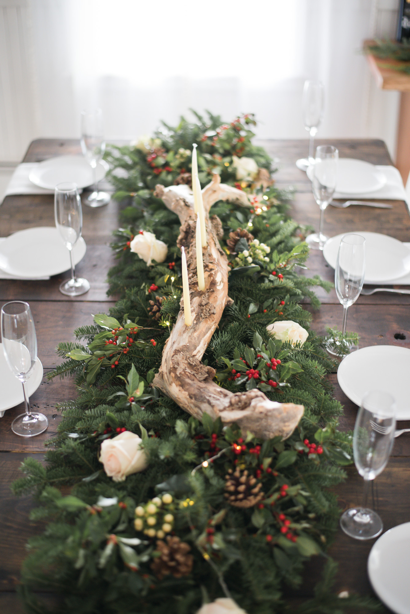 Wild Rosebuds | For the love of getting together with the NSLC | Christmas Tablescape with evergreens and driftwood centerpiece