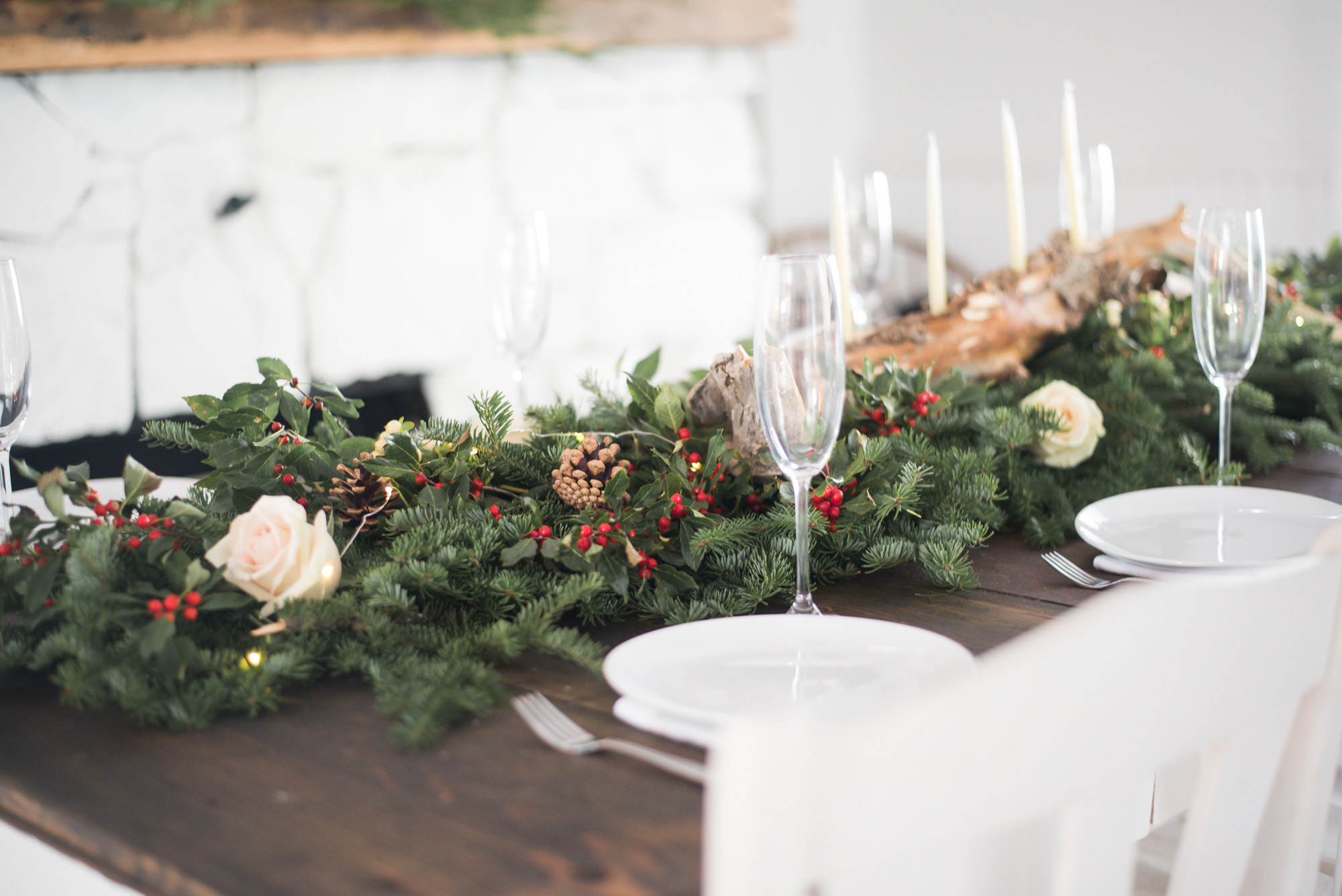 Wild Rosebuds | For the love of getting together with the NSLC | Christmas Tablescape with evergreens and canadian holly for a holiday party