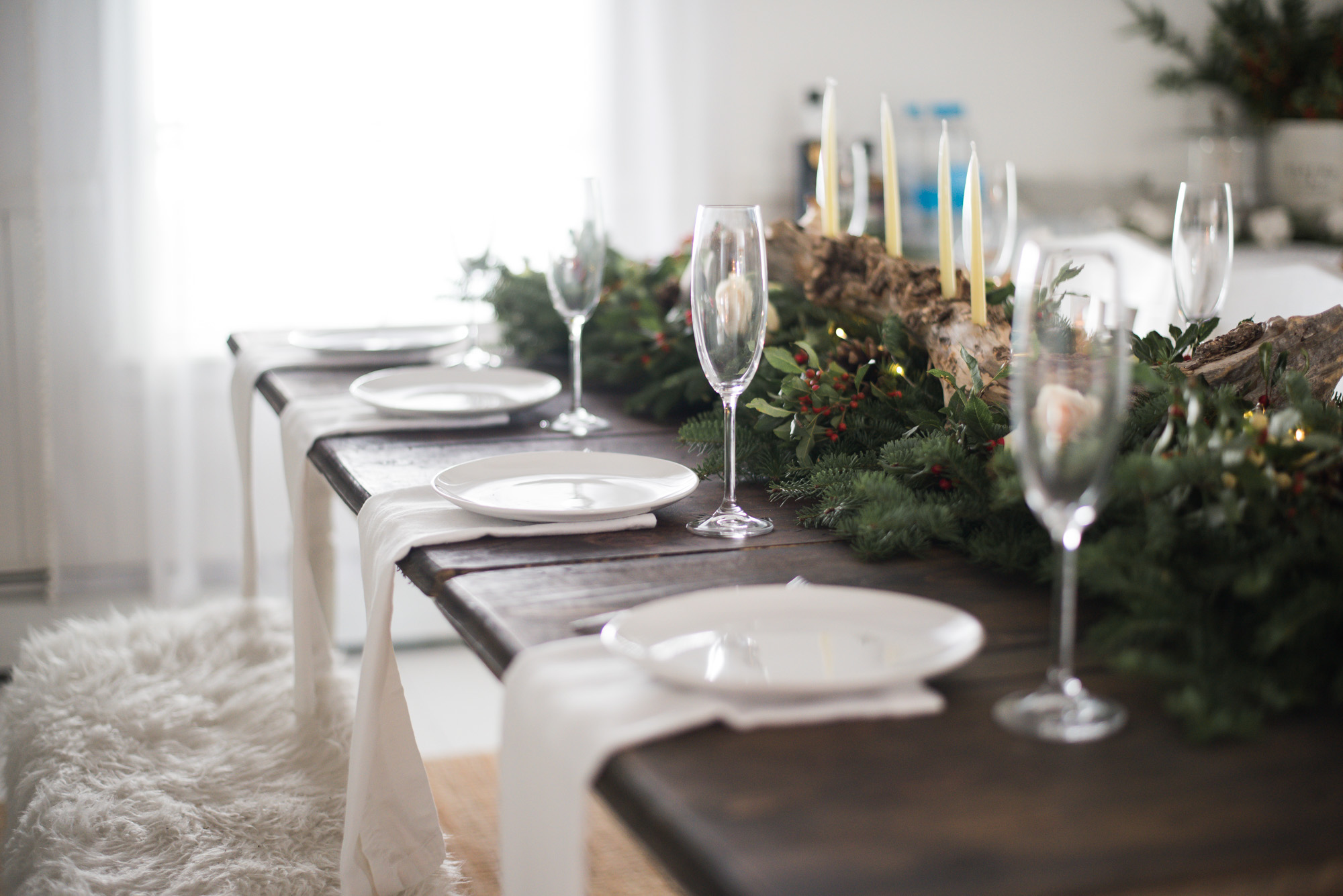 Wild Rosebuds | For the love of getting together with the NSLC | Christmas Tablescape with evergreens