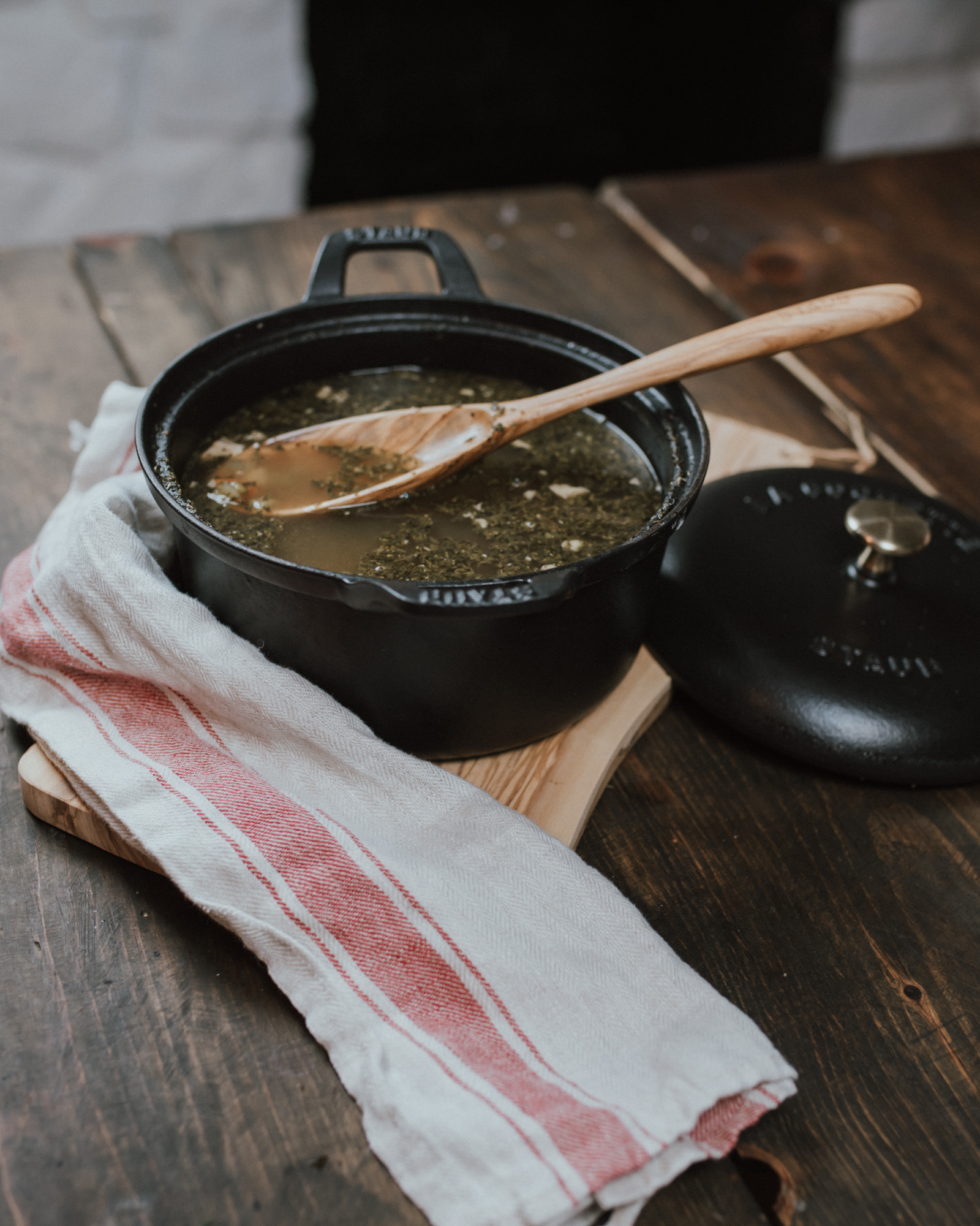 Wild Rosebuds | The Best Turkey Leftover Soup in a Staub Cast Iron Pot