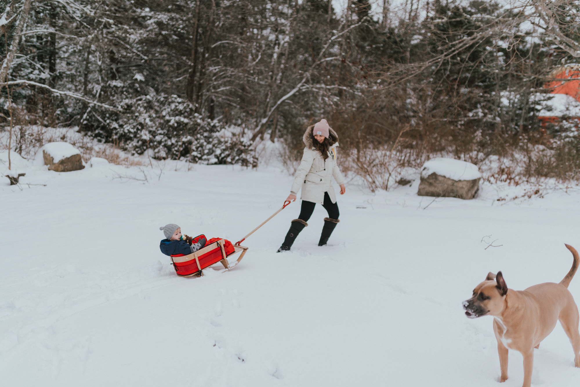 The Wild Decoelis | Winter Activities In Nova Scotia | Parajumper Parka, wooden sleigh for baby