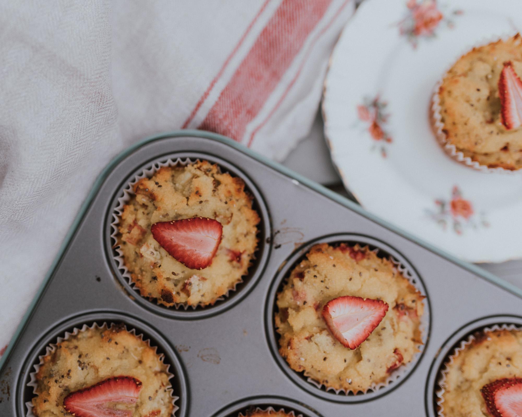 The Wild Decoelis | Paleo Strawberry Rhubarb Chia Muffins, gluten-free, grain-free, sugar-free, Dairy-free