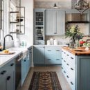 The Wild Decoelis | Kitchen Inspo | blue kitchen and black hardware.