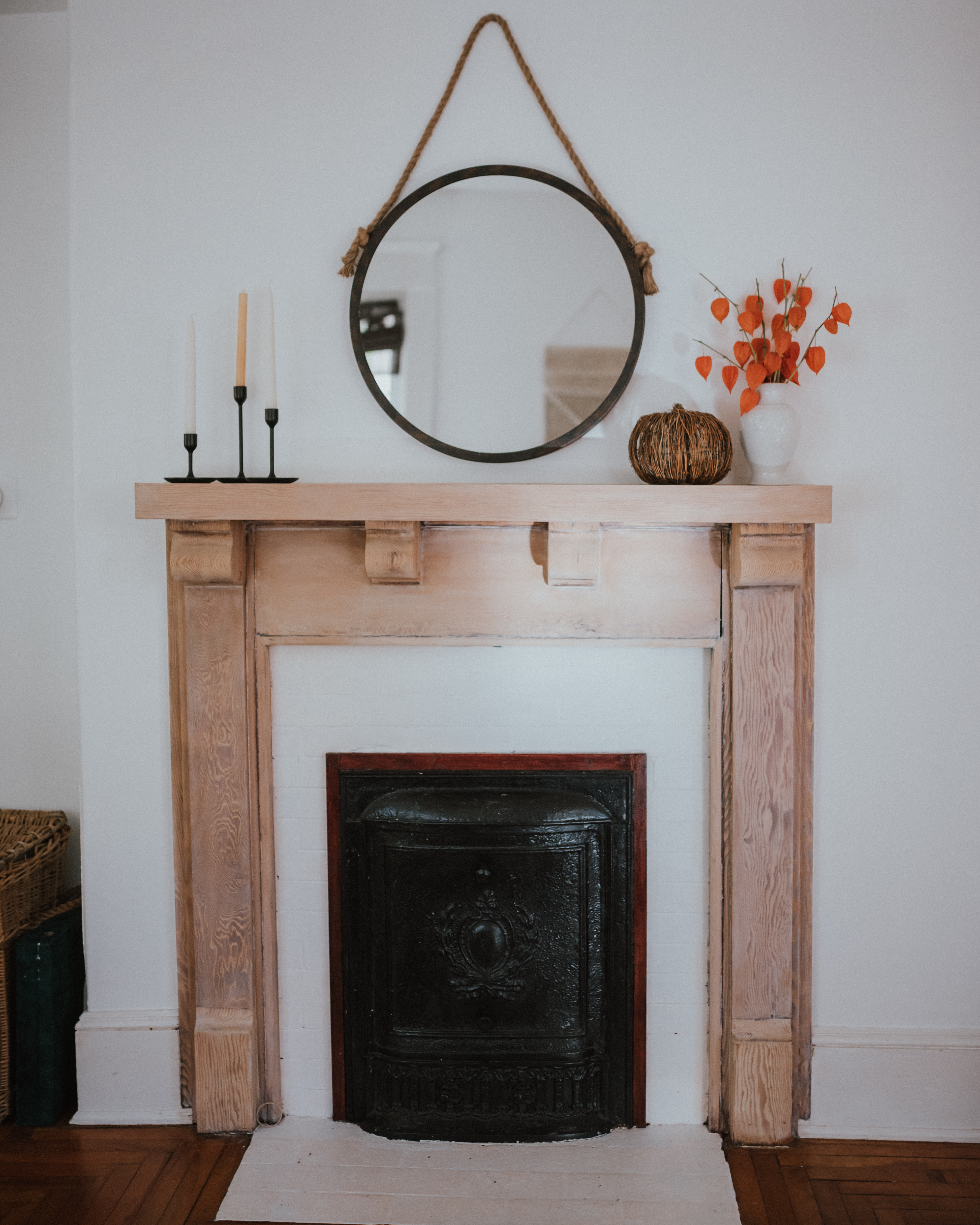The Wild Decoelis | Taking a Fireplace Mantle From dark Antique Stain to Whitewashed | whitewashed vintage mantle