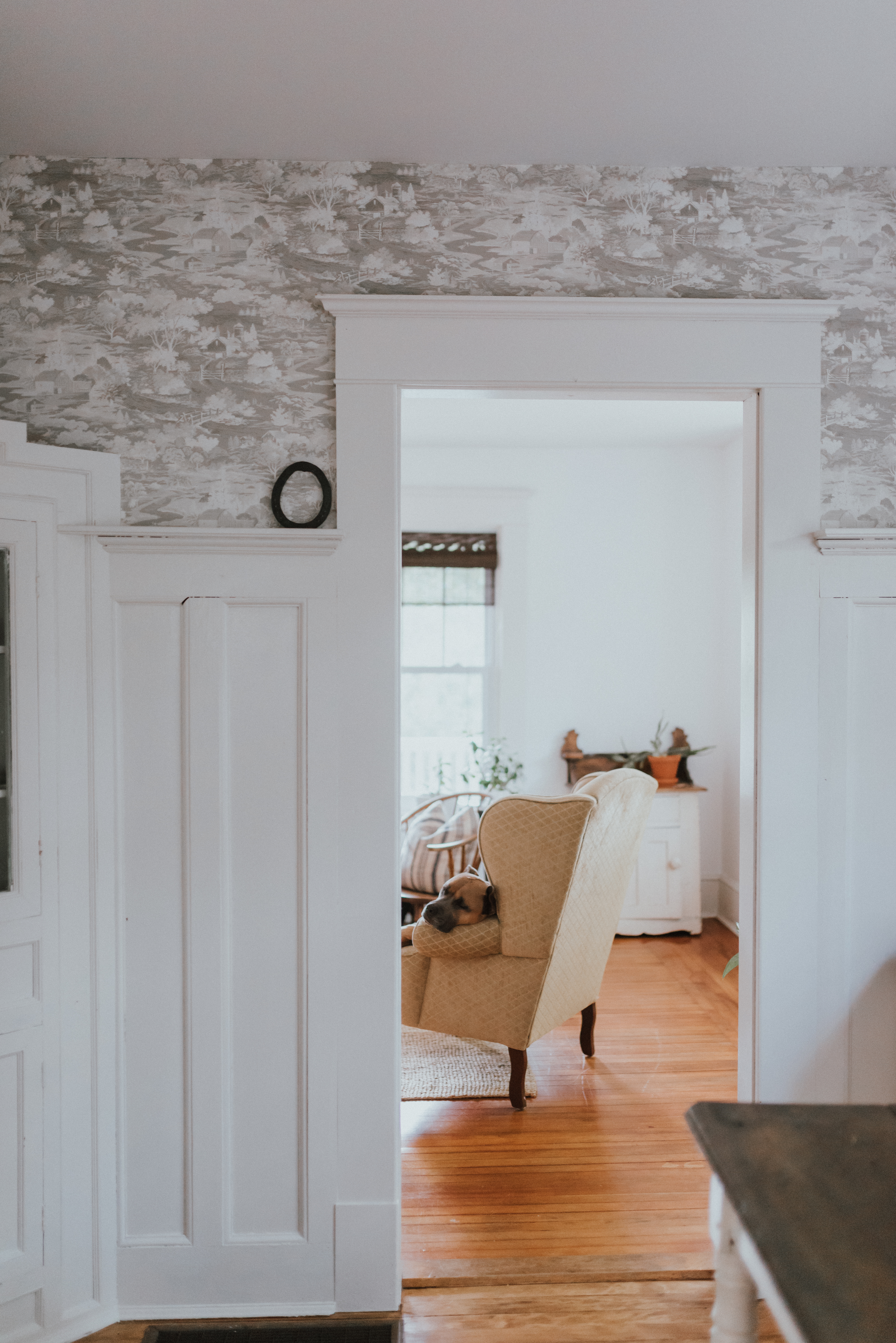 The Wild Decoelis | Paint and Wallpaper: Our Budget-Friendly Way to Make Over a Home With Home Depot | how to paint stained wood trim white