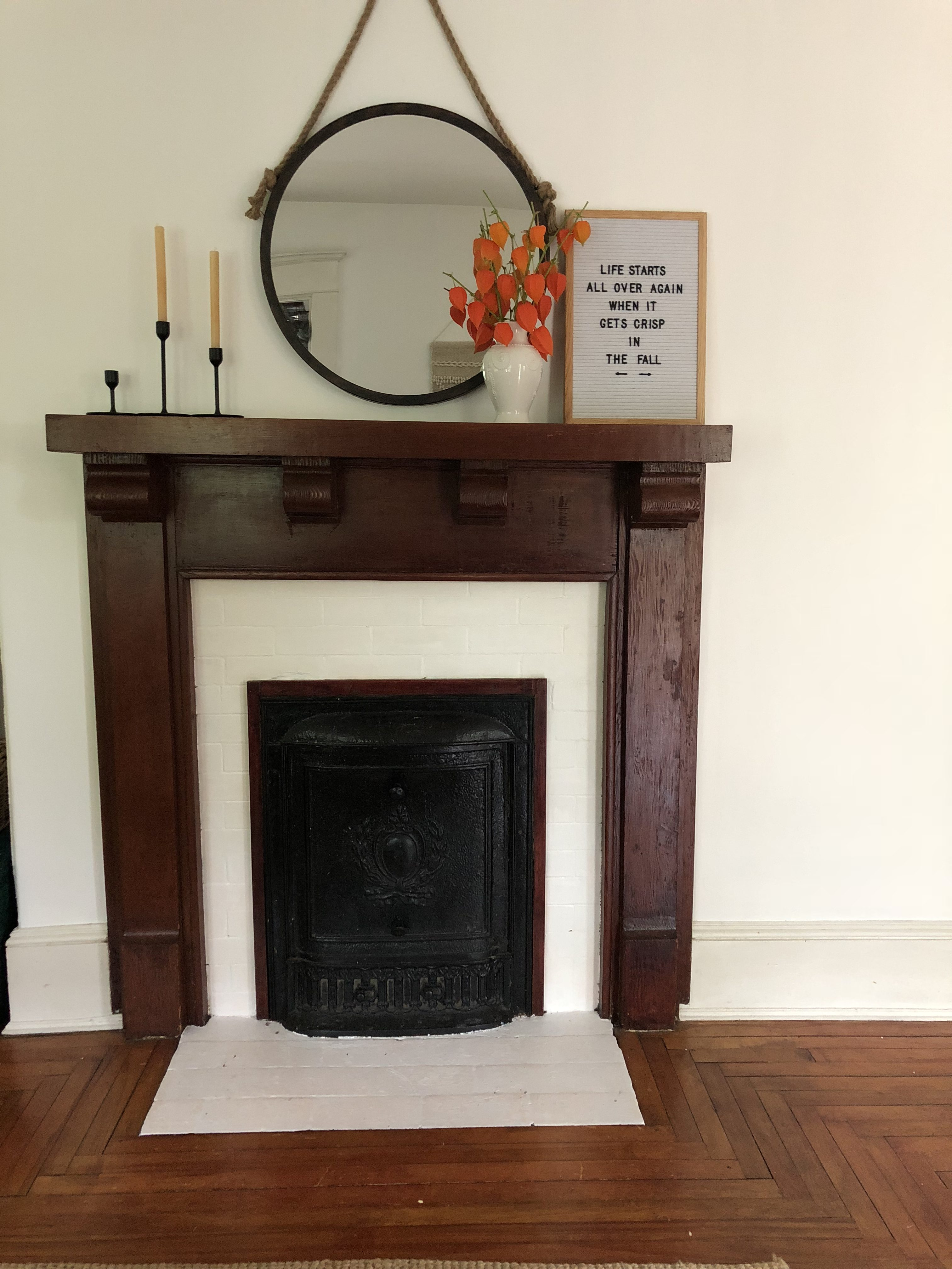 The Wild Decoelis | Taking a Fireplace Mantle From dark Antique Stain to Whitewashed  dark staine fireplace before