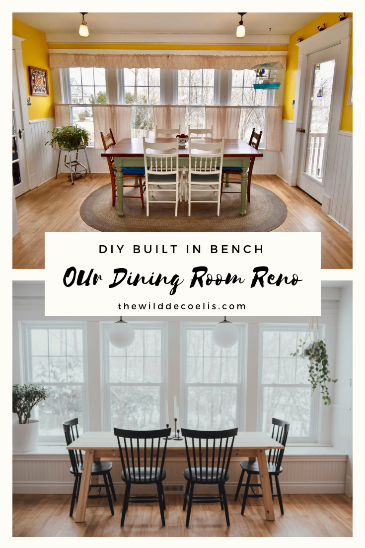 THe Wild Decoelis | DIY Built In Bench | Alexandria Moulding | Before and After Kitchen Dining Room Renovation