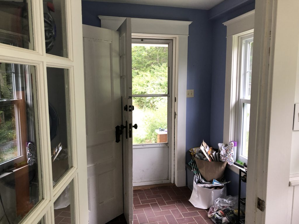 The Wild Decoelis | before photo of back door in mudroom