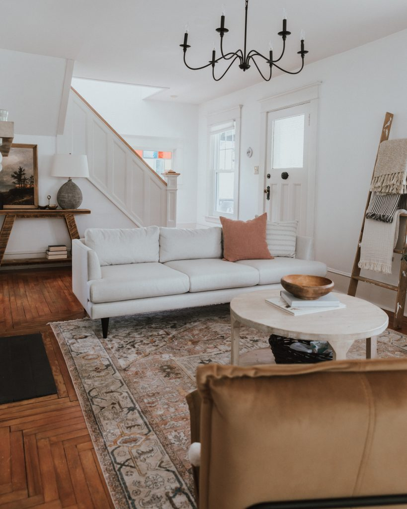 One Room Challenge: Week 6 - A New Couch from Kavuus| rugs USA rug, Lucia sofa, tonic living pillows, Mobilia ned chairs
