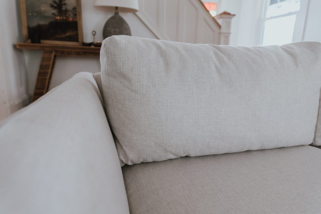 One Room Challenge: Week 6 - A New Couch from Kavuus | beige custom sofa