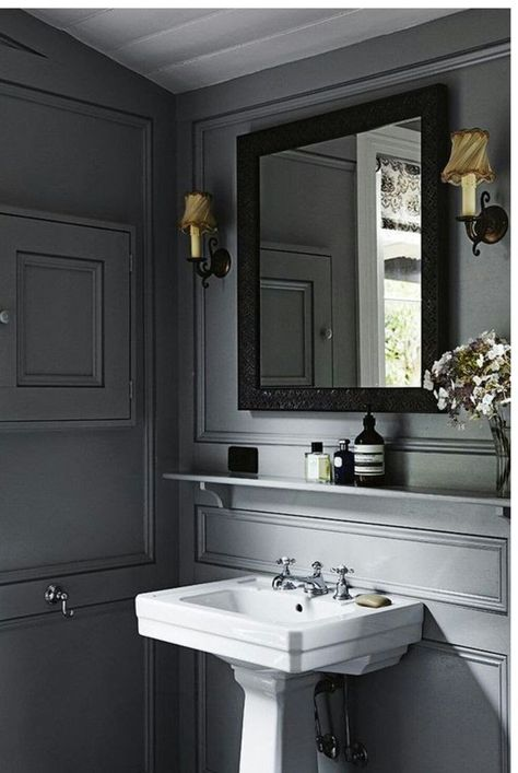 The Wild Decoelis | Powder Room Reno on a budget + Going Bold With The Color | dark grey powder room with trim detailing