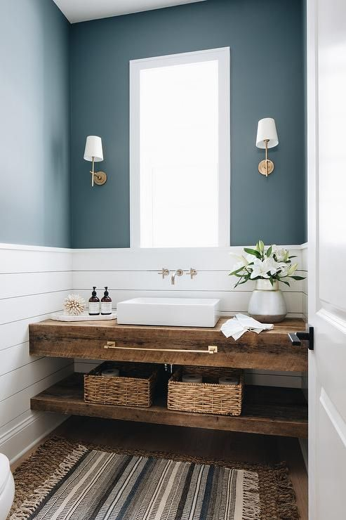 The Wild Decoelis | Powder Room Reno on a budget + Going Bold With The Color | floating wood vanity