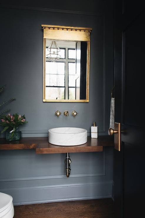 The Wild Decoelis | Powder Room Reno on a budget + Going Bold With The Color | floating wood vanity with vessel sink