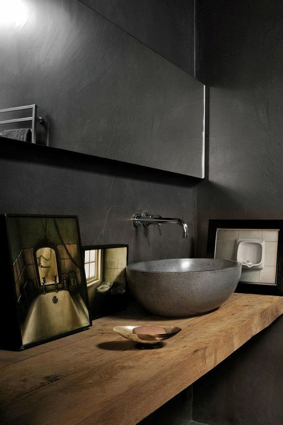 The Wild Decoelis | Powder Room Reno on a budget + Going Bold With The Color | dark grey powder room with Vessel sink