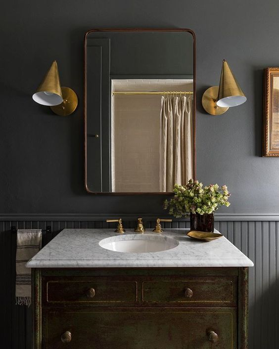 The Wild Decoelis | Powder Room Reno on a budget + Going Bold With The Color | dark grey powder room with gold accents
