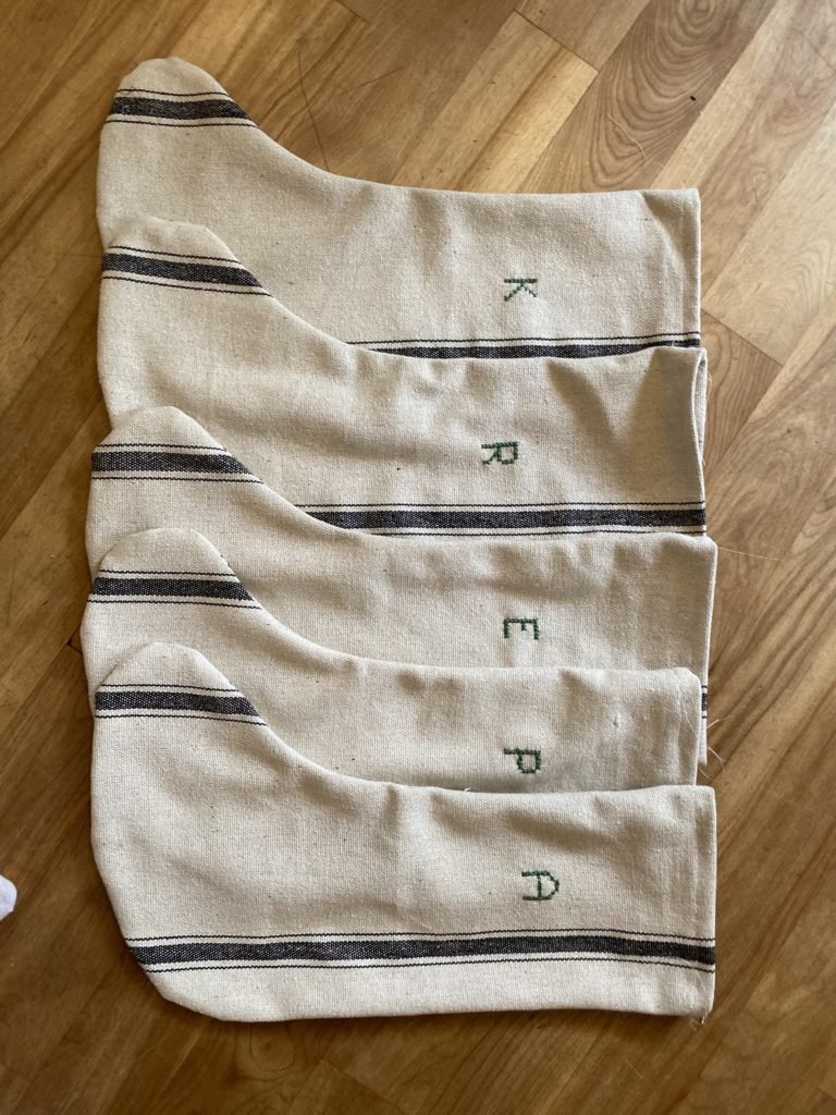 The Wild Decoelis   How To Make Flour Sack Stockings   sewing instructions   crossstitch embroidery initials