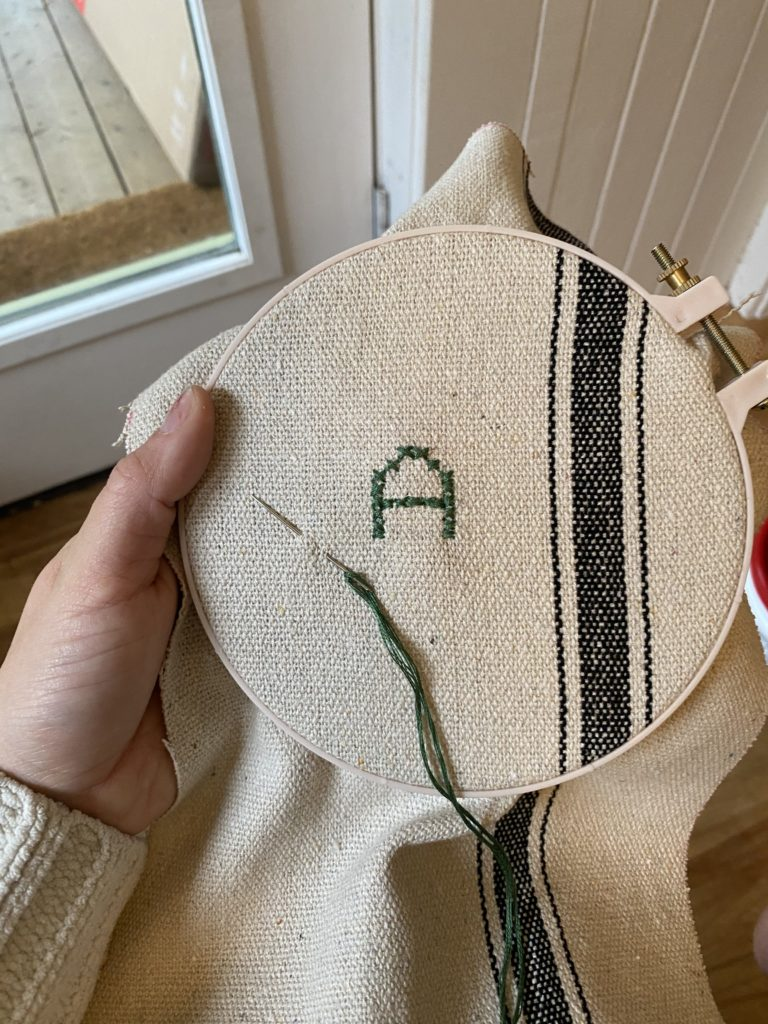The Wild Decoelis | How To Make Flour Sack Stockings | sewing instructions | crossstitch embroidery initials