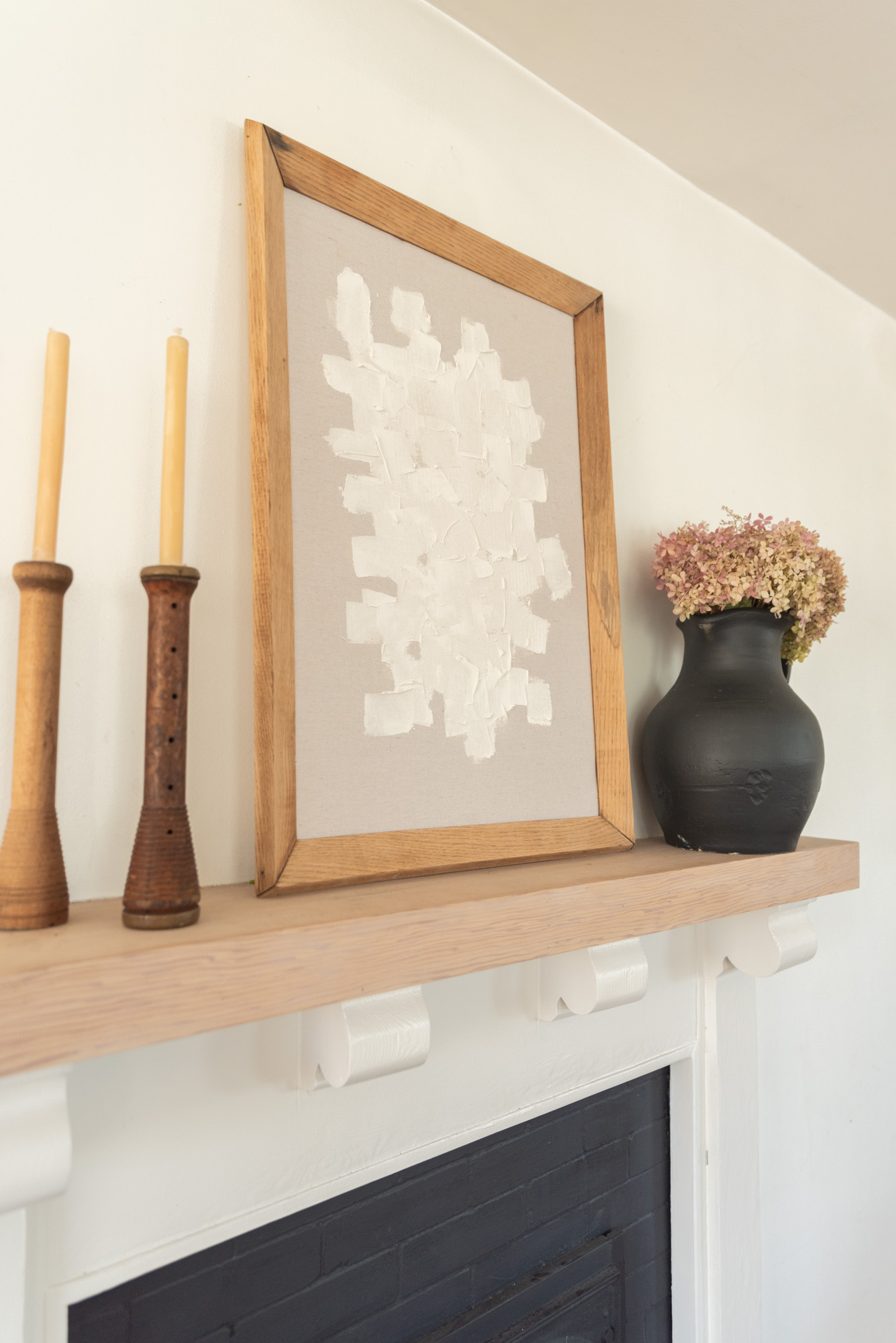 he Wild Decoelis | DIY Modern Minimal Art | mantle art made from dropcloth paint, dry wall compound and an old frame. Super easy.